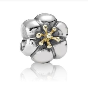 Pandora floral charm with 14k gold